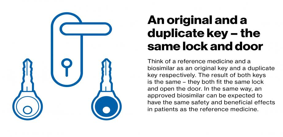 An original and a duplicate key - the same lock and door