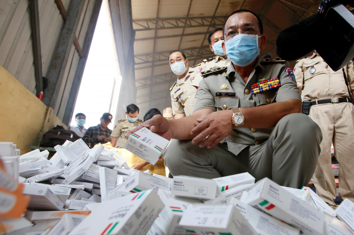 About 5.1 tons of counterfeit medicines were seized and destroyed in Phnom Penh, Cambodia, in 2014