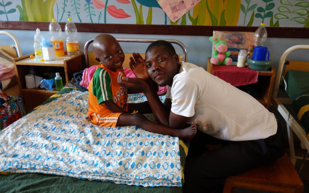 Parents and relatives spend as much time as possible with their children in the cancer wards.