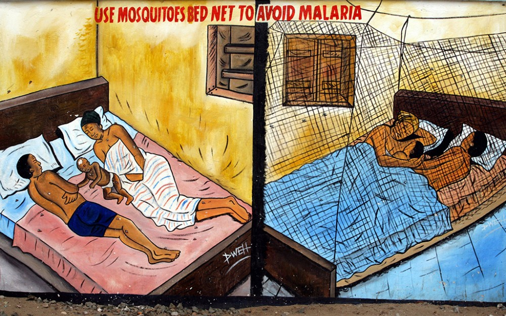 Another painting shows how parents can protect themselves and their children from getting infected: by hanging bed nets