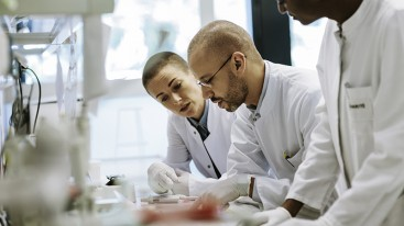 Scientists discussing over a desk
